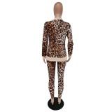 Conjunto de chaqueta y pantalón a juego con estampado de leopardo de otoño