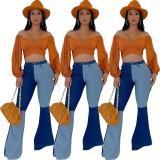 Jeans acampanados de cintura alta con estilo en contraste