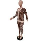 Ensemble veste et pantalon assortis à imprimé léopard d'automne