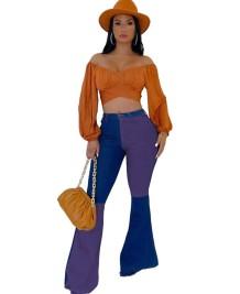 Stylish Contrast High Waist Flare Jeans