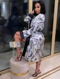 Manteau long imprimé dollar africain à manches longues
