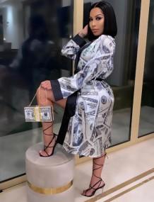 Casaco comprido com estampa de dólar africano com mangas compridas