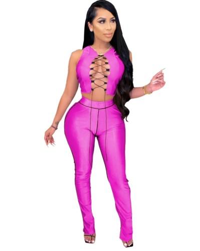Conjunto de calças e top feminino sexy de duas peças combinando com cordões