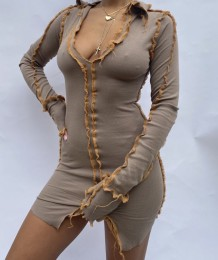 Autumn Knitted Mini Dress with Contrast Trims