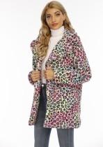 Winter Turndown Kragen Tie Dye Pocketed Long Coat