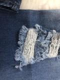 Jean bleu dégradé taille haute déchiré