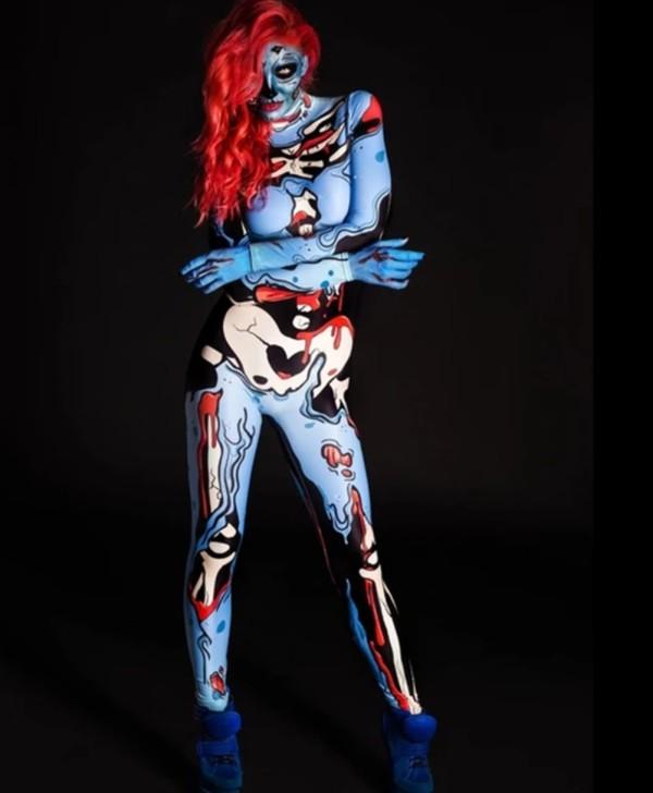 Combinaison moulante à manches longues à imprimé crâne carvinal Halloween