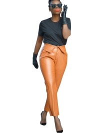 Formal High Waist Regular Leather Trousers