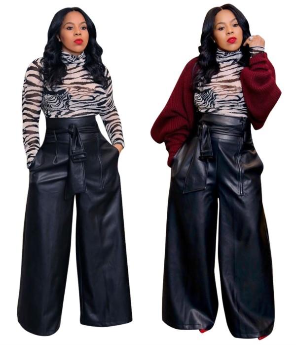 Pantalon en cuir à jambes larges et taille haute avec ceinture