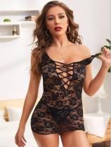 Sexy schwarze Schnürschnürung Durchsichtige Bodysuit-Dessous