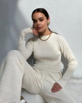 Winter Solid Plain Casual Ribbed Matching Top and Pants Set