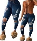 Jeans déchirés serrés taille haute sexy bleu