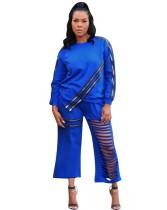 Autumn Africa Casual Zweiteilige Reißverschlüsse Ripped Pants Set