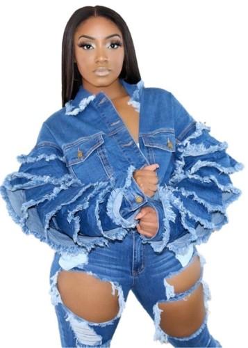 Herbstliche Button Up Blue Short Jeansjacke mit Lagenärmeln