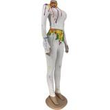 Autumn Sexy Paints Conjunto de pantalones ajustados y pantalones de cintura alta