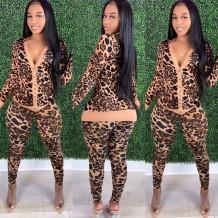 Autumn Leopard Print Matching Jacket and Pants Set