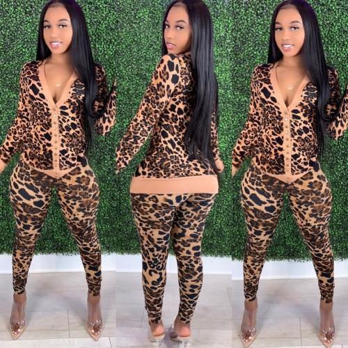 Conjunto de jaqueta e calças com estampa de leopardo outono
