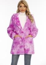 Manteau long hiver col rabattu à poches tie dye