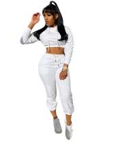 Otoño sólido liso crop top y pantalones con capucha sudadera