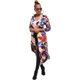 Abrigo largo con estampado geométrico colorido de Autumn Africa