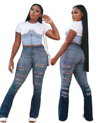Jeans strappati a vita alta blu sfumati
