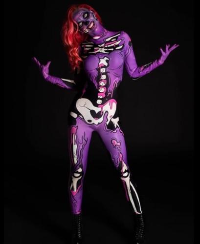 Halloween Carvinal Skull Print Bodycon-jumpsuit met lange mouwen