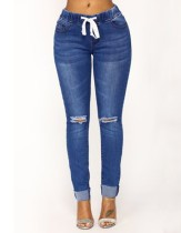 Autumn Blue Ripped Regular Jeans