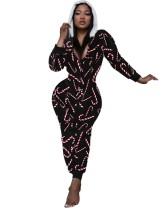 Pijama Onesie con capucha y cremallera con estampado navideño