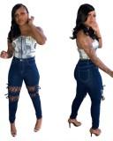 Jeans ajustados de cintura alta con cordones azules de otoño