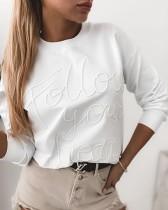 Herbstlicher weißer Brief-Druck-Rundhals-Hemd