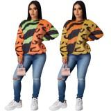 Chemise col rond à imprimé contrastant d'automne