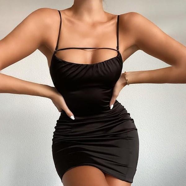 Mini vestido de tirantes sexy sin espalda de verano