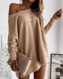 Vestido estilo sudadera con abertura lateral y cuello redondo caqui de otoño