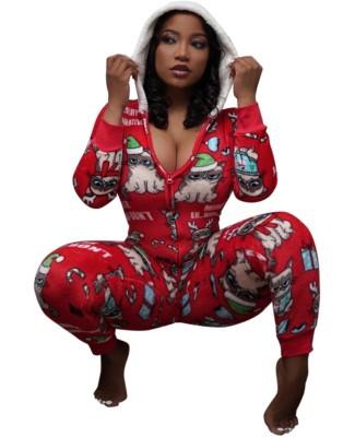 Christmas Print Zip Up Hoodie Onesie Pajama
