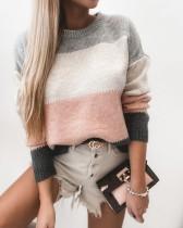 Suéter con cuello redondo en contraste de otoño
