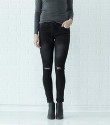 Autumn Black Ripped Regular Jeans