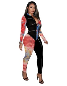 Herbst Party Sexy Tie Dye Bodycon Jumpsuit