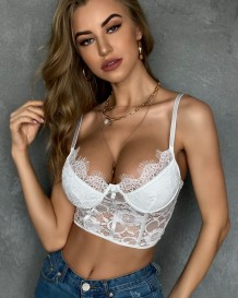 Sexy Lace Strap Básico Crop Top Ropa interior