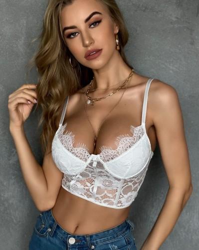 Sous-vêtements basiques à bretelles en dentelle sexy