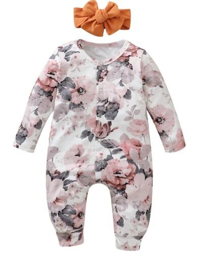 Mamelucos florales de otoño para niña con diadema