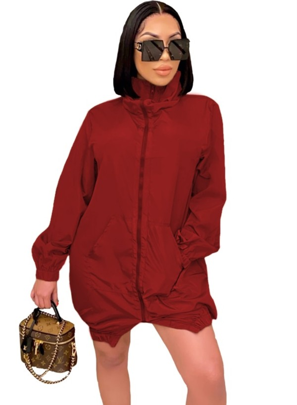 Robe veste automne uni uni zippée