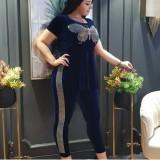 Plus Size Mutter reife Pailletten Schmetterling Schlitz Hemd und Hose Set