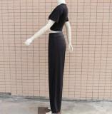 Sommer Casual Solid Plain Crop Top und Wide Legges Hosen Set