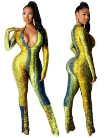 Herfstfeest Sexy Print Gestapelde Jumpsuit met Ritssluiting