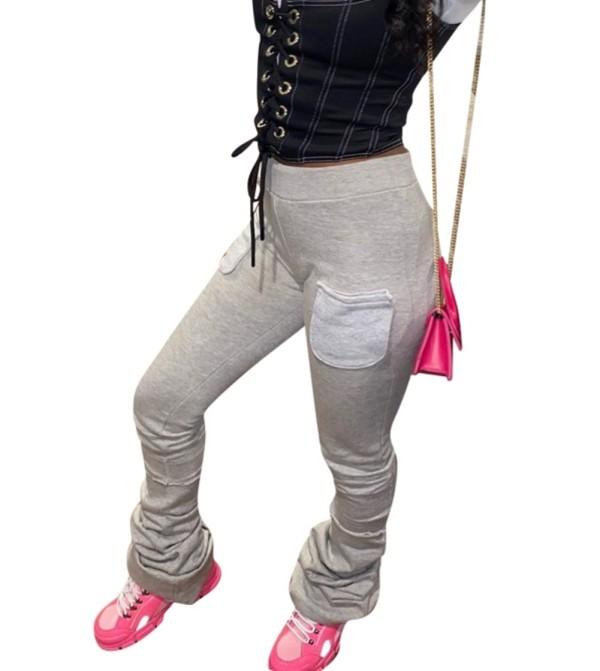 Pantalon empilé africain d'automne avec poches contrastées