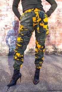 Spring High Waist Camou Cargo Pants with Belt