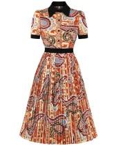 Elegant Retro Print Pleated Skater Dress