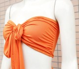 Verano sólido liso sexy anudado bandeau top y pantalones anchos conjunto