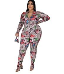 Plus Size Autumn Zip Up Butterfly Bodycon Jumpsuit