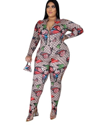 Plus Size Autumn Zip Up Butterfly Bodycon Jumpsuit